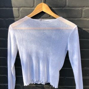 BRANDY MELVILLE SILVER SHEER LONG SLEEVE